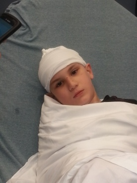 Dylan had a seizure and busted his head open, he got got seven staples.