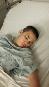 Dylan sleeping before surgery.