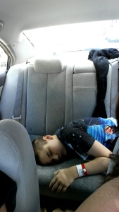 Dylan sleeping in the car on the way home.